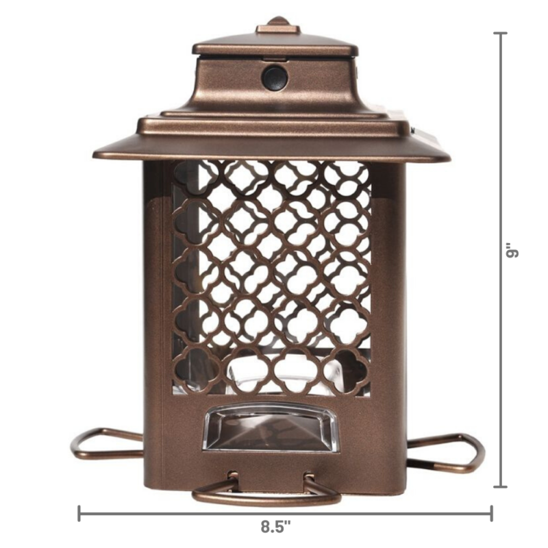 Stokes Select Metal Hopper Bird Feeder dimensions