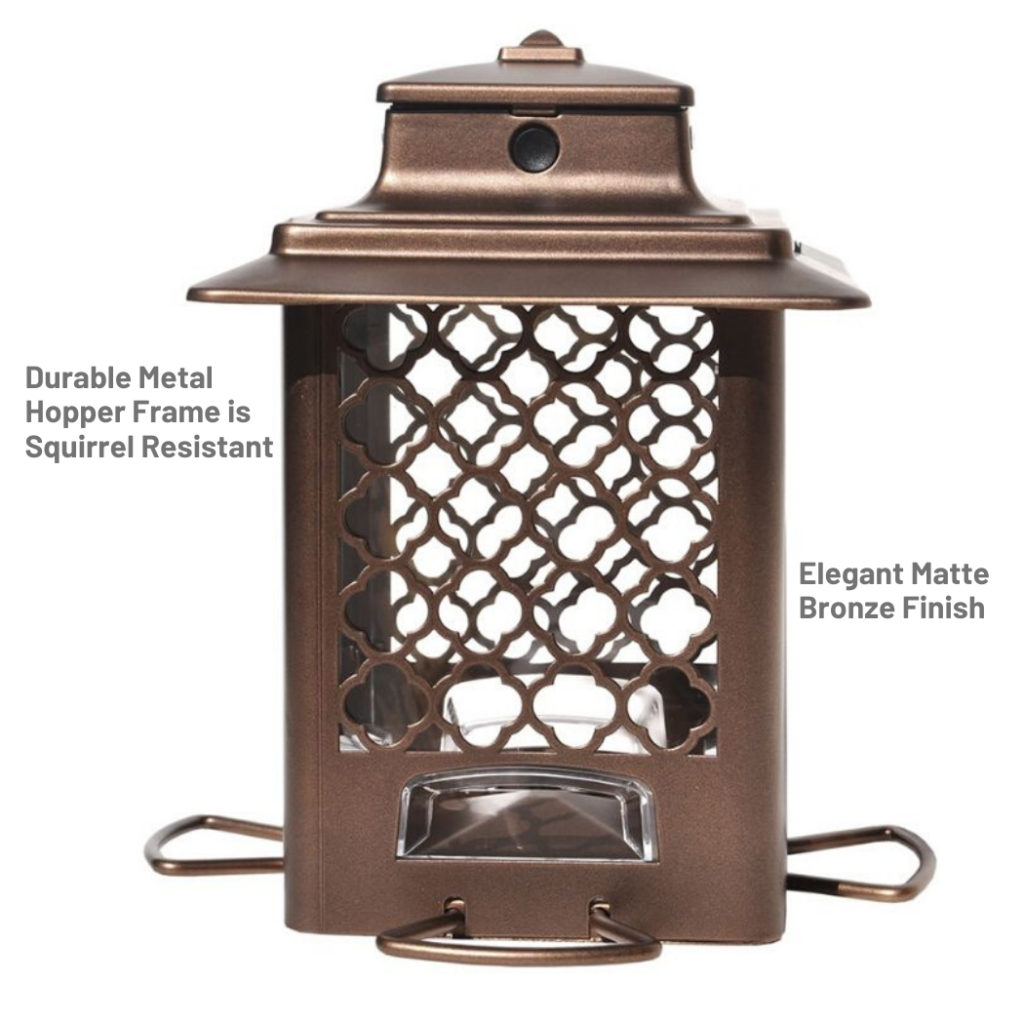 Stokes Select Metal Hopper Bird Feeder's durable metal hopper frame in elegant matte bronze finish is squirrel-resistant