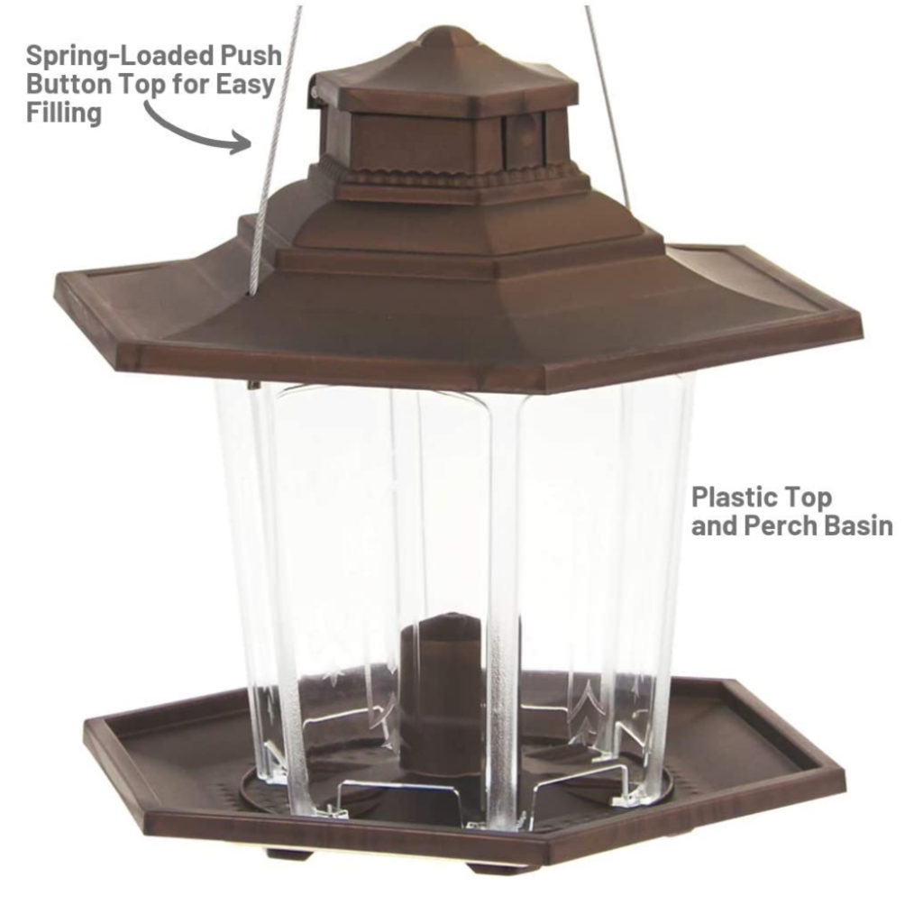 spring-loaded push-button top for easy filling and plastic top and perch basin on Stokes Select Small Lantern Bird Feeder
