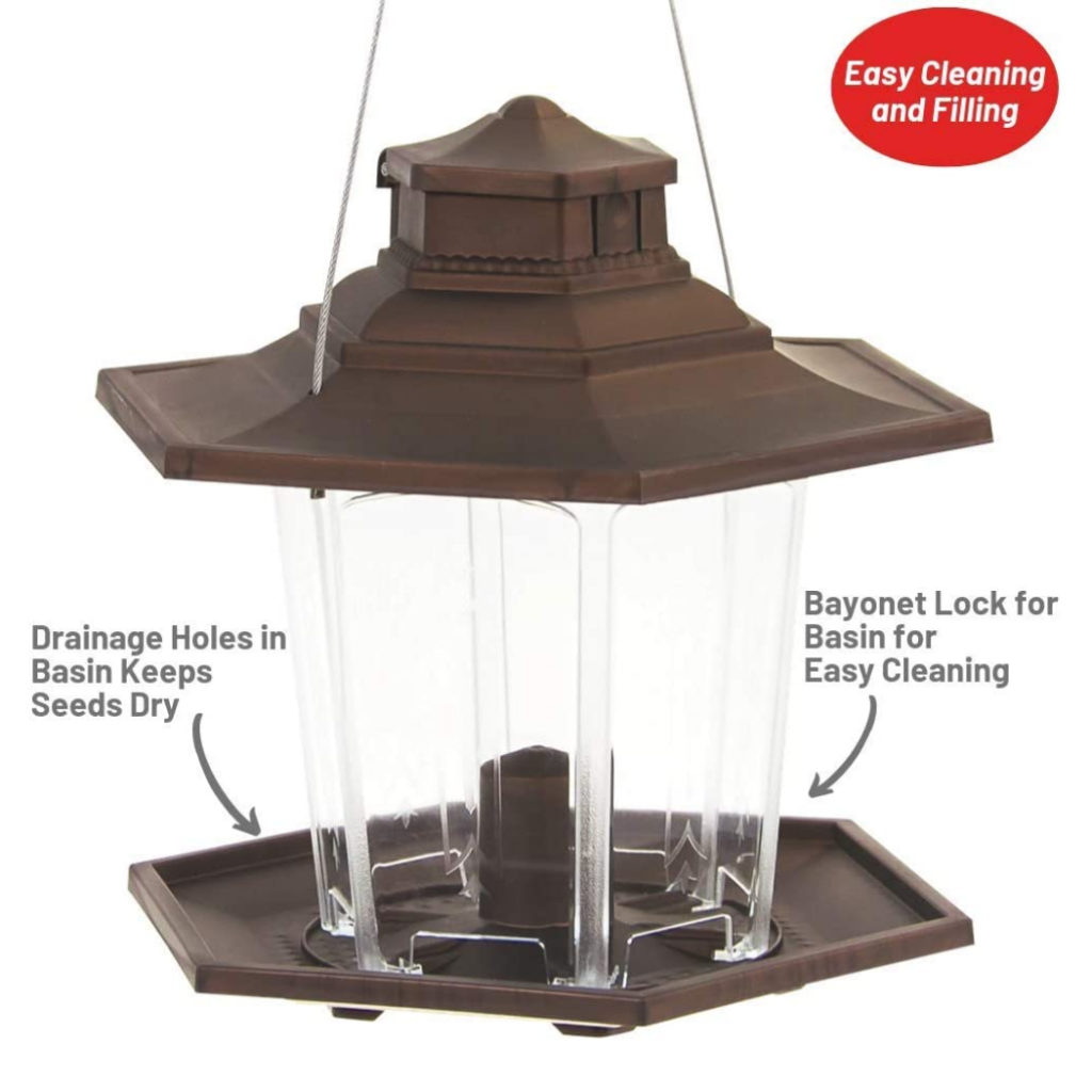 drainage holes in basin keep seeds dry and bayonet lock on basin for easy cleaning on Stokes Select Small Lantern Bird Feeder