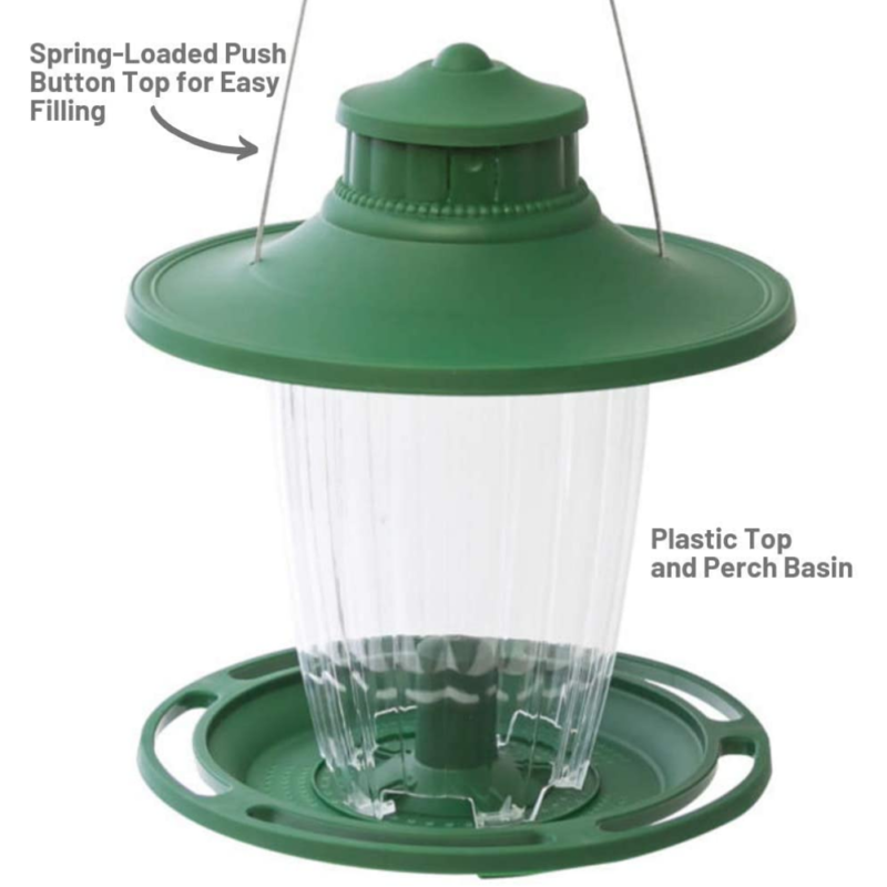 Stokes Select Large Lantern Bird Feeder has a spring-loaded push-button top for easy filling and a plastic top and perch basin