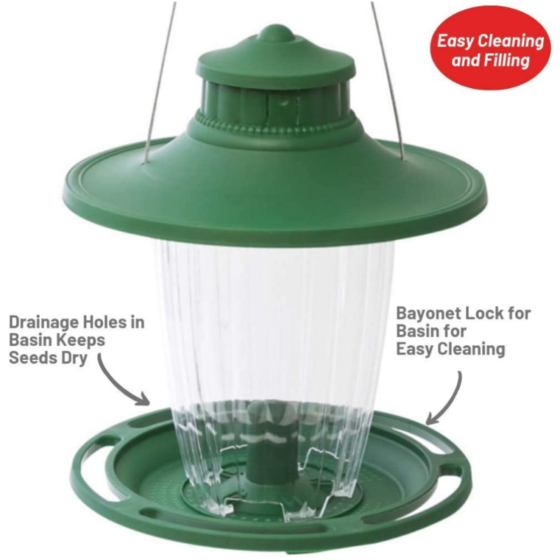 Stokes Select Large Lantern Bird Feeder has drainage holes in basin to keep seeds dry and the bayonet lock on basin makes for easy cleaning
