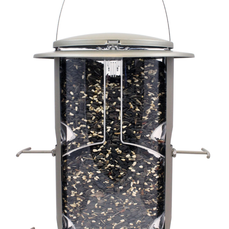 Squirrel-X1 Squirrel-Resistant Bird Feeder filled with sunflower seeds