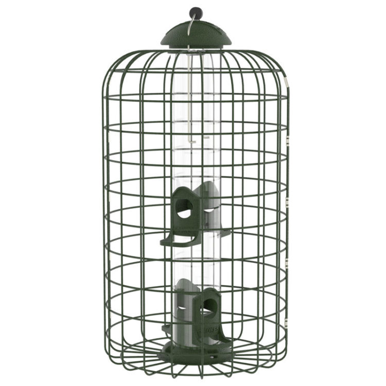 Squirrel-X caged squirrel-resistant feeder