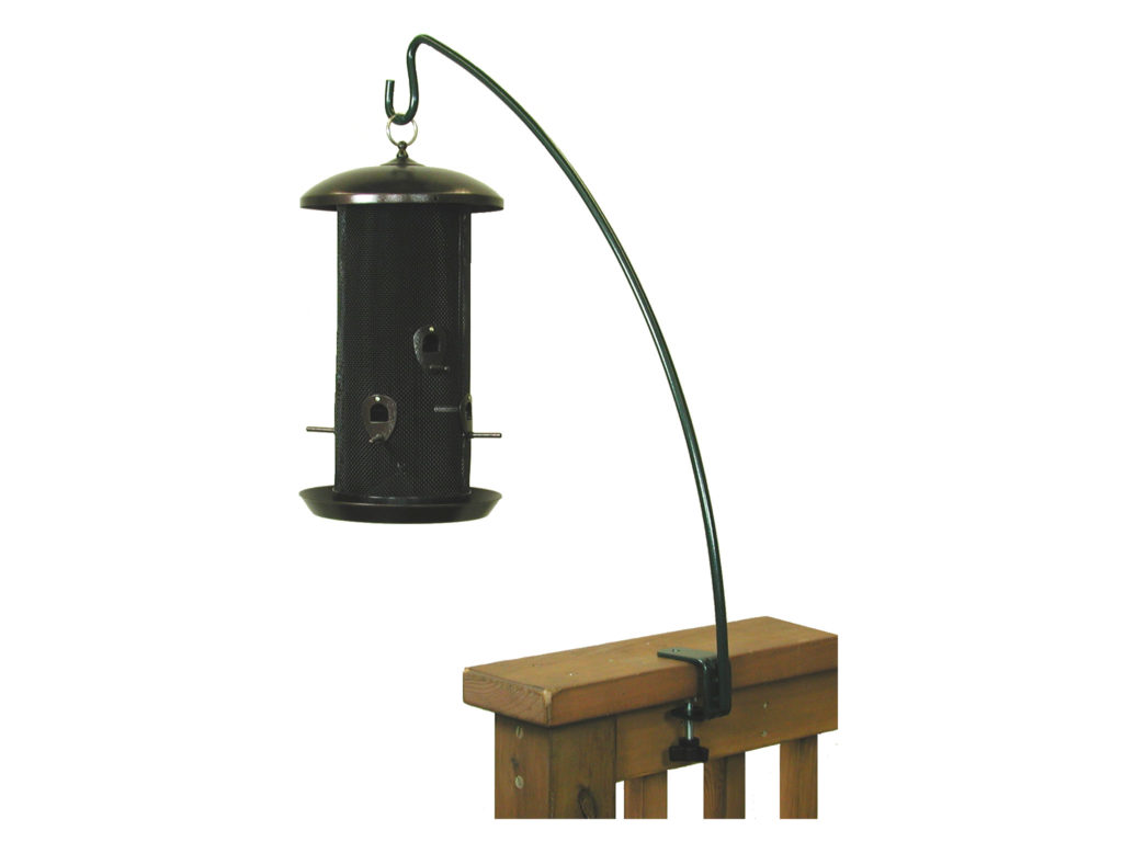 bird feeder hanging from Stokes Select clamp-on deck hook