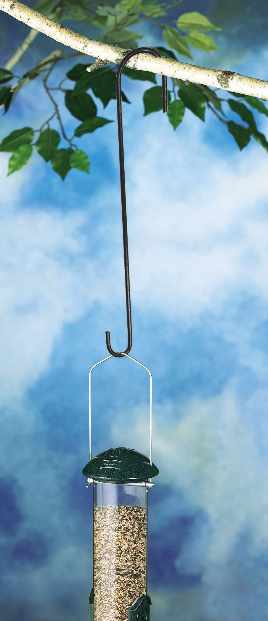 bird feeder hanging from Stokes Select 12 inch Extension Hook