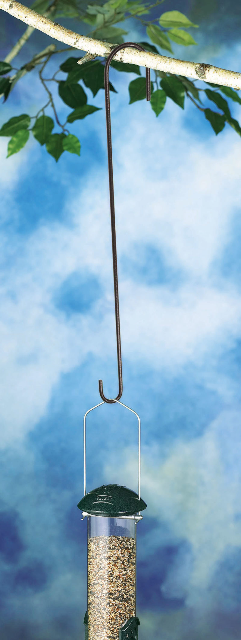 bird feeder hanging from Stokes Select 18 inch Extension Hook