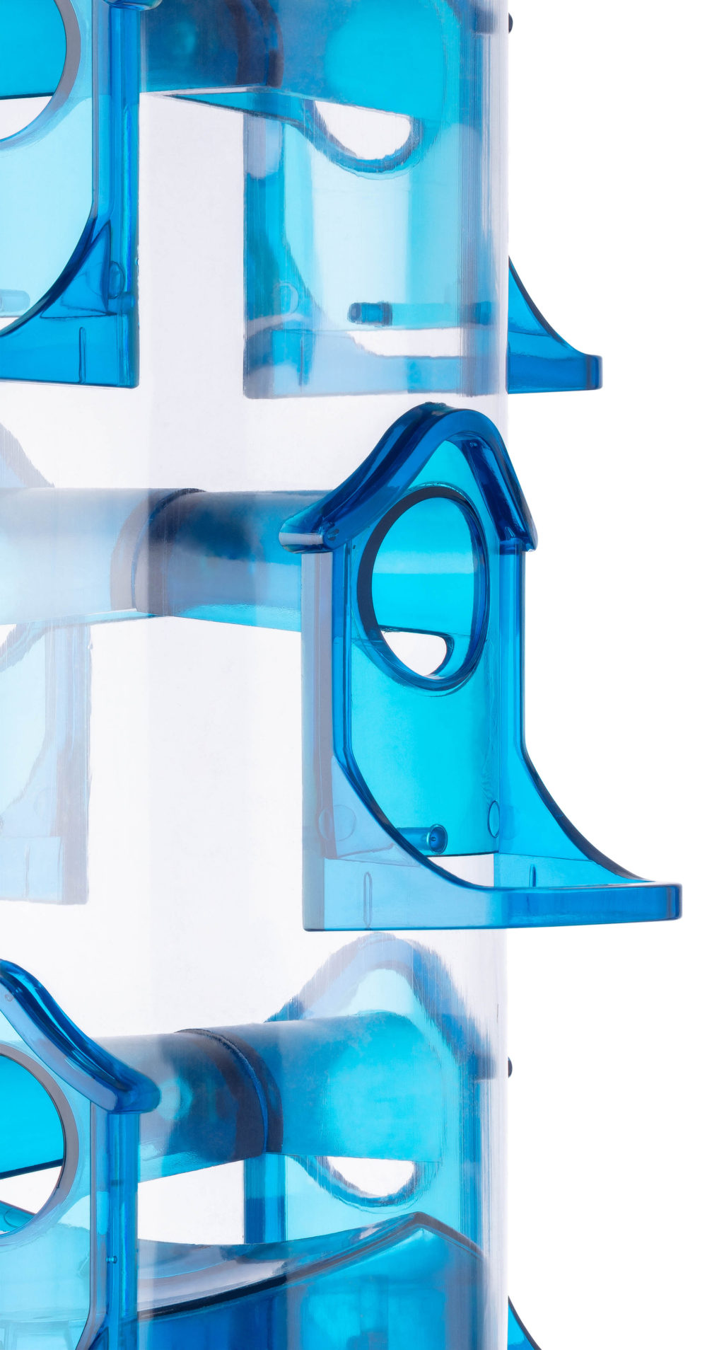 close-up of port and perch of Stokes Select Jumbo Seed Songbird Feeder in blue