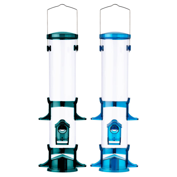 Stokes Select Jumbo Seed Songbird Feeder in blue and green