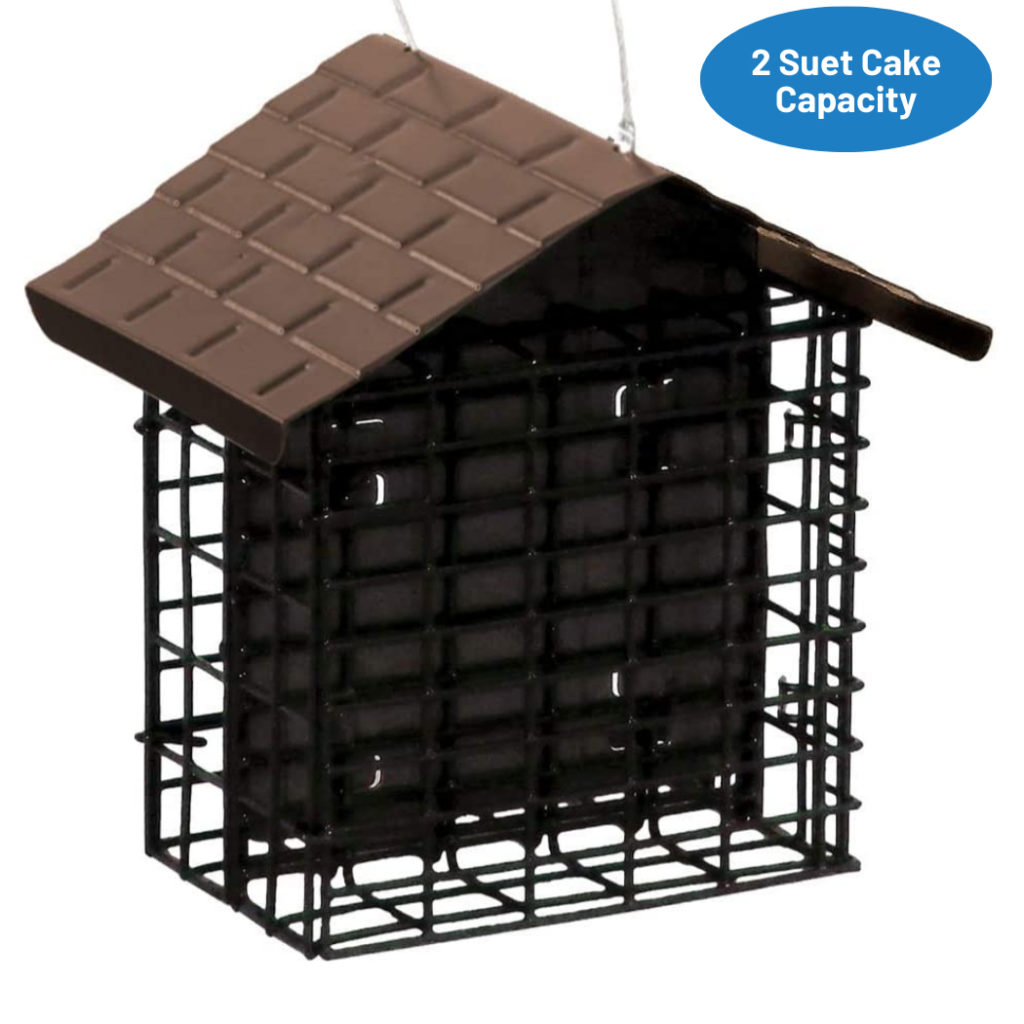 Stokes Select Two Cake Suet Buffet with Weather Guard has a 2 suet cake capacity
