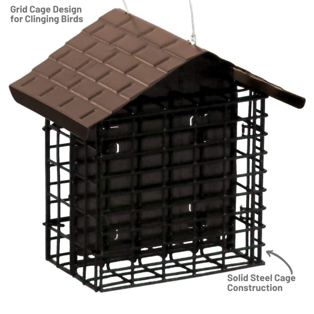 Stokes Select Two Cake Suet Buffet with Weather Guard has a grid cage designed for clinging birds and a solid steel cage construction