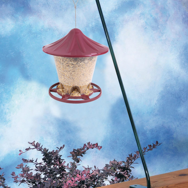 bird feeder hanging on Stokes Select 13 inch Deck Hook