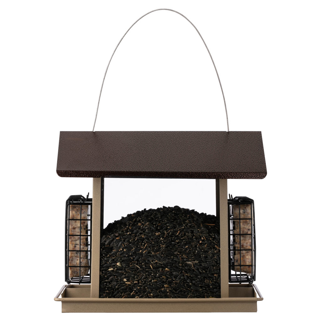 Stokes Select Large Hopper Bird Feeder with Suet Holders filled with bird seed and suet