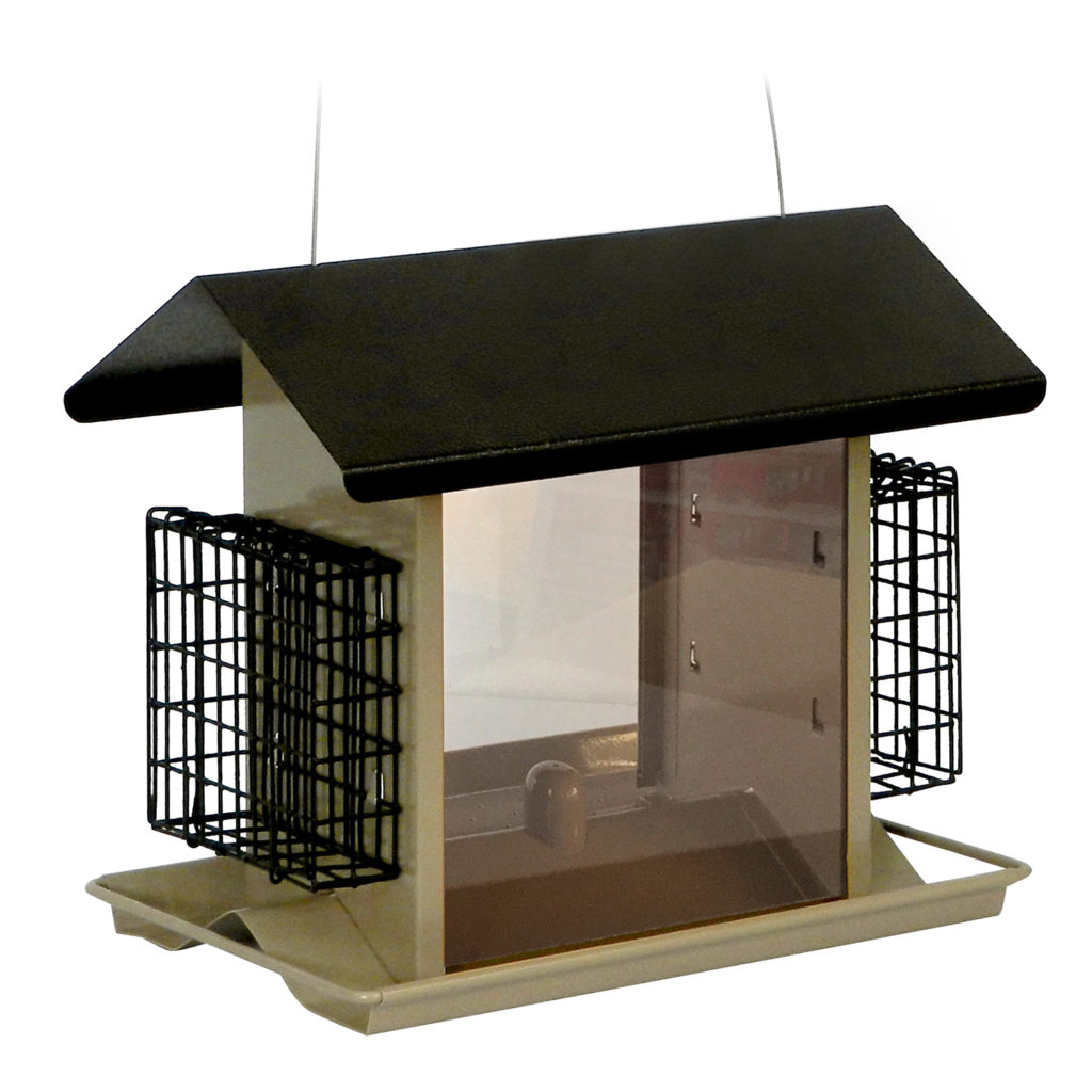 alt view of Stokes Select Large Hopper Bird Feeder with Suet Holders