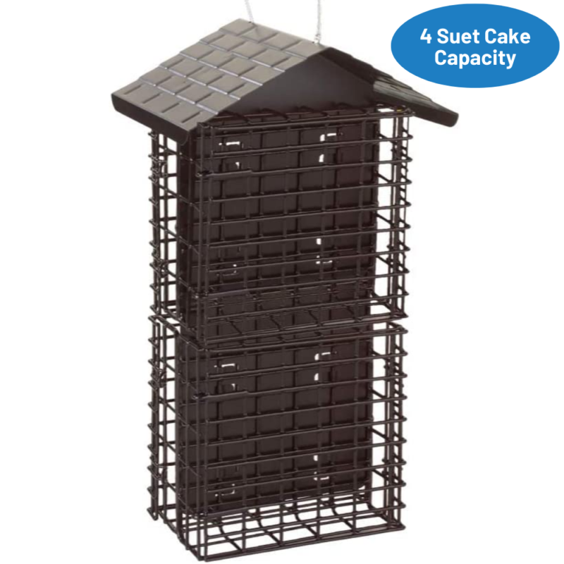 Stokes Select Four Cake Suet Buffet with Weather Guard has a four suet cake capacity