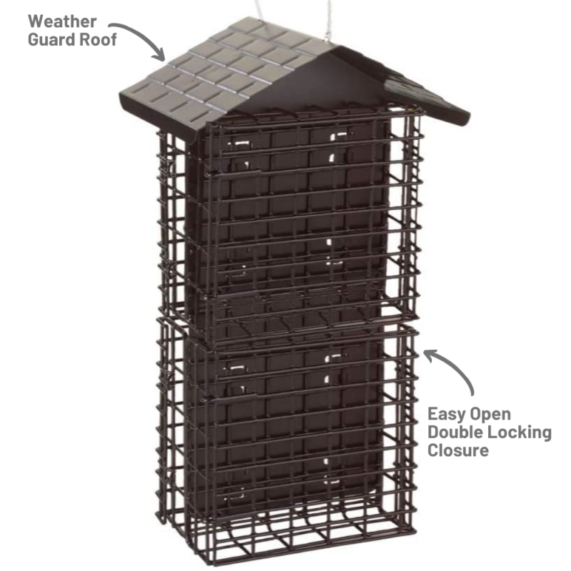 weather guard roof and easy-open double-locking closure on Stokes Select Four Cake Suet Buffet with Weather Guard