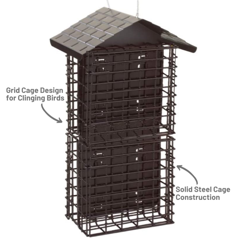 solid steel cage construction and grid cage design for clinging birds on the Stokes Select Four Cake Suet Buffet with Weather Guard