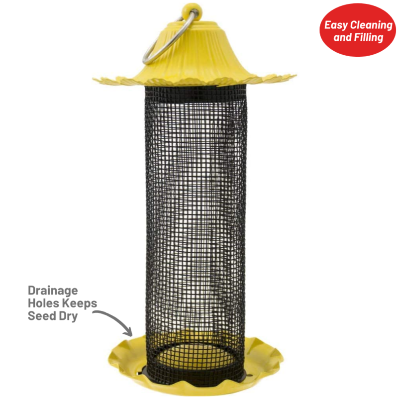 drainage holes keep seed dry on Stokes Select Little-Bit Finch Screen Feeder