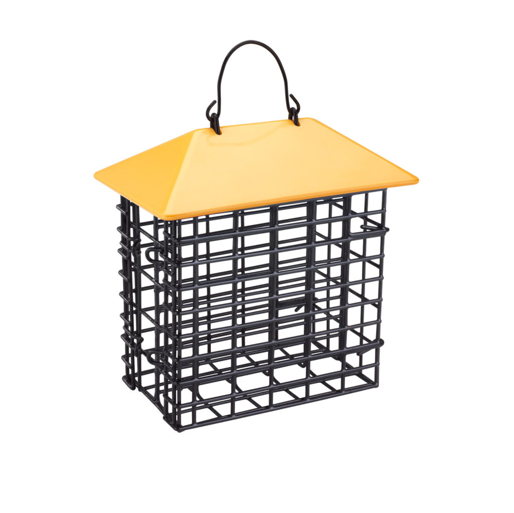 Double Suet Feeder with Weather Guard in yellow