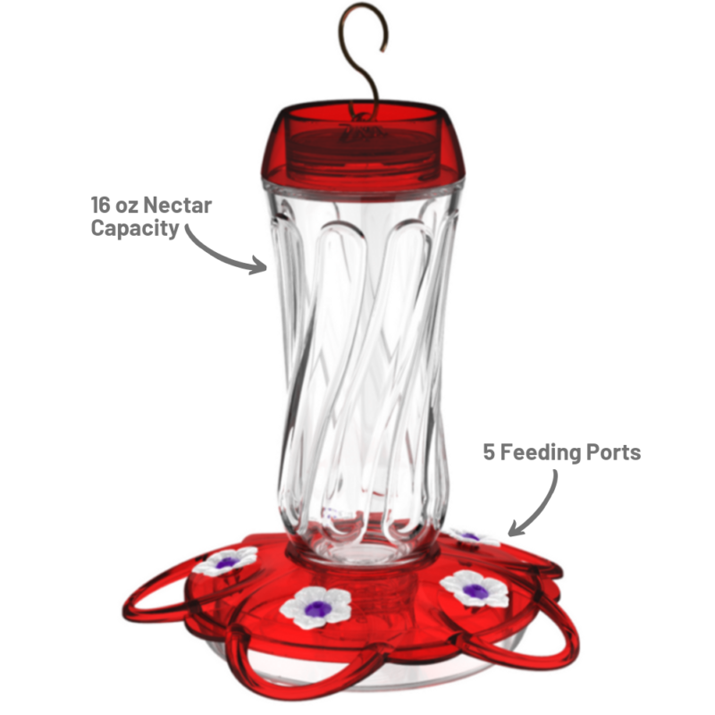 More Birds Orion Hummingbird Feeder 16 oz nectar capacity and five feeding ports