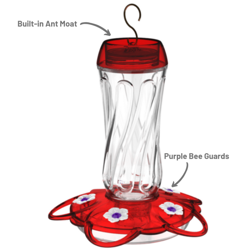 built-in ant moat and purple bee guards on More Birds Orion Hummingbird Feeder