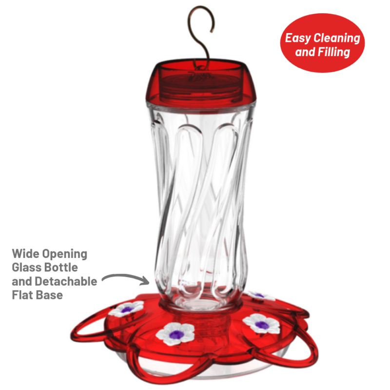 More Birds Orion Hummingbird Feeder is easy to clean and fill with the wide opening glass bottle and detachable flat base