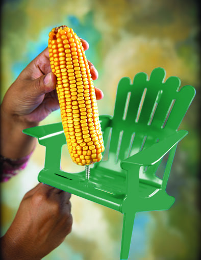 installing corn cob on Stokes Select Adirondack Chair Squirrel Feeder