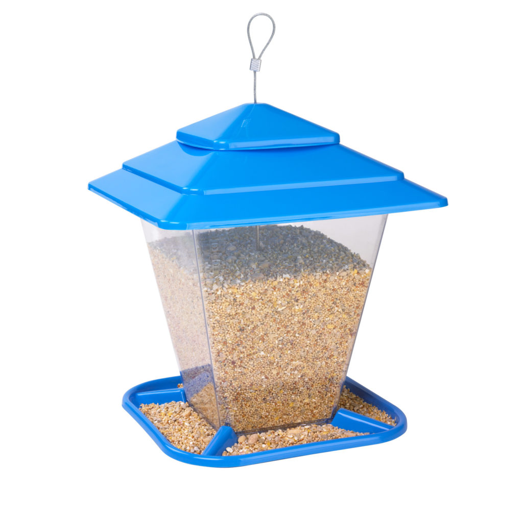 blue Stokes Select square seed feeder filled with bird seed