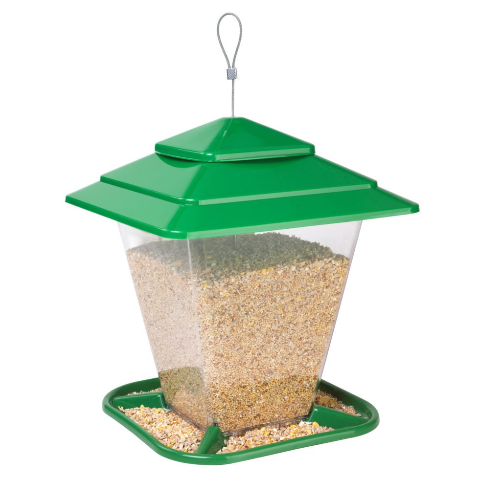 green Stokes Select square seed feeder filled with bird seed