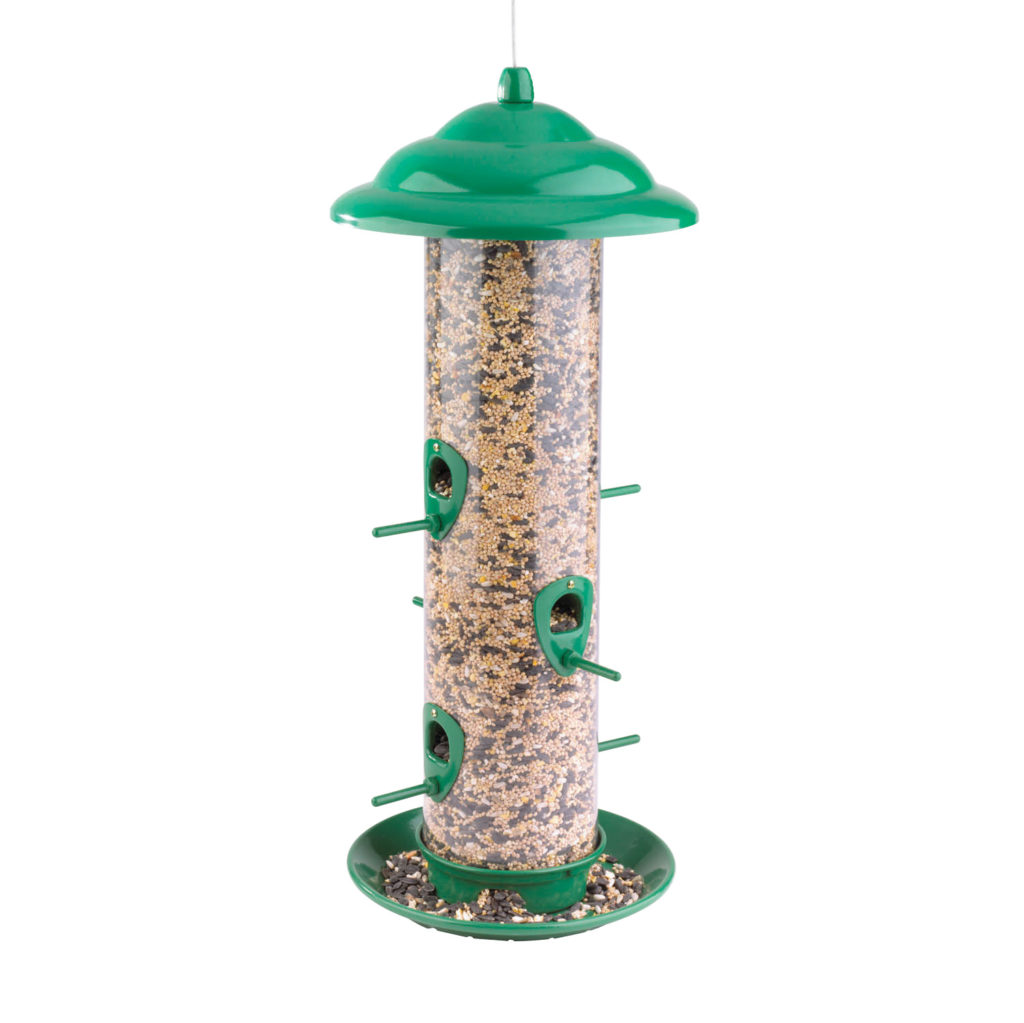 Stokes Select Sedona High Capacity Feeder filled with bird seed