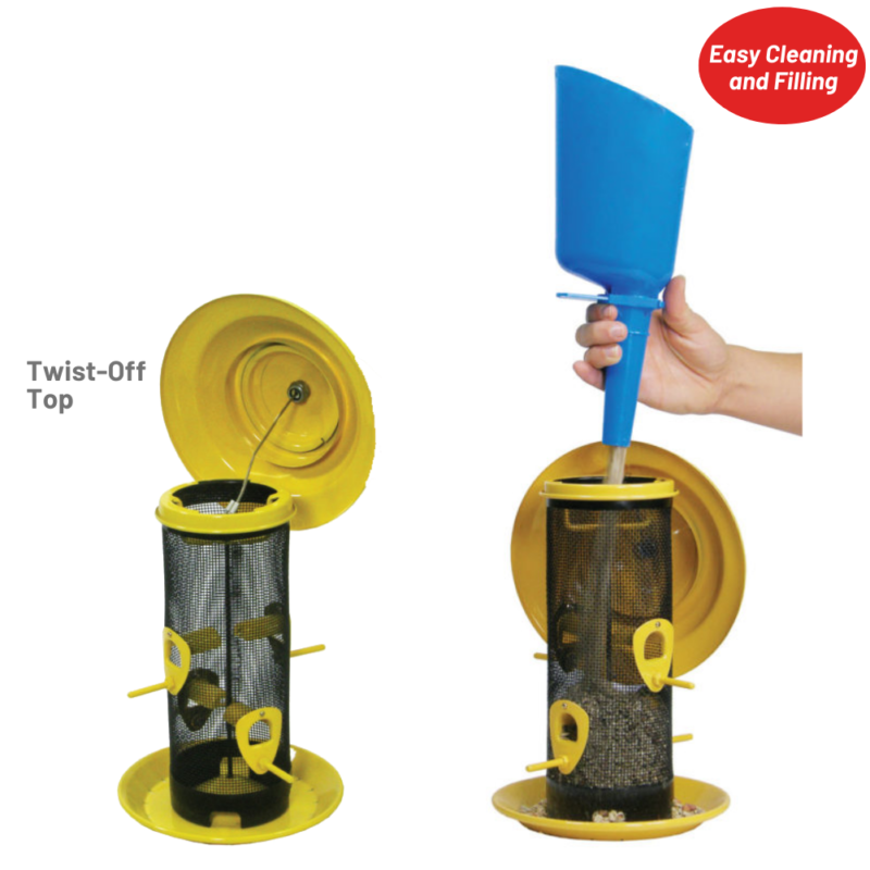 twist-off top for easy cleaning and filling on the Stokes Select Sedona Screen Bird Feeder
