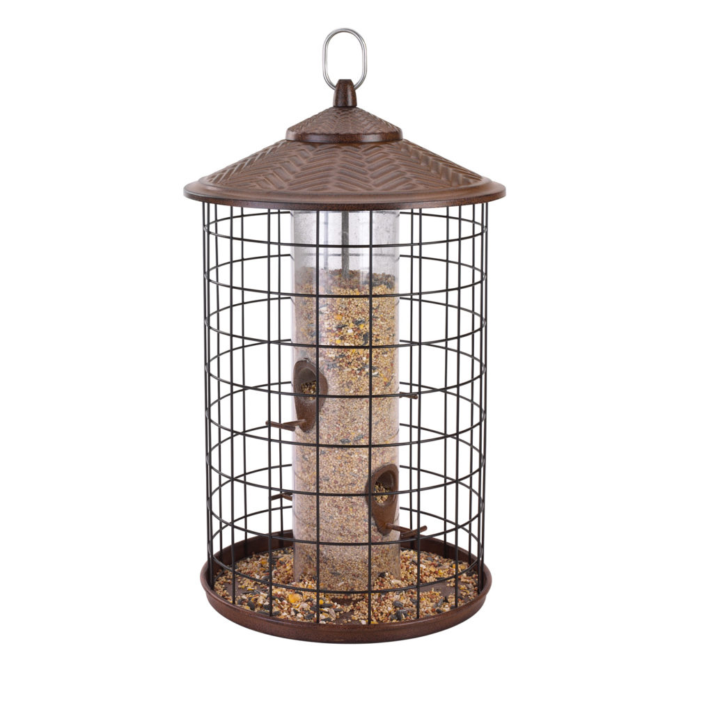Squirrel-X grande squirrel-proof feeder filled with bird seed
