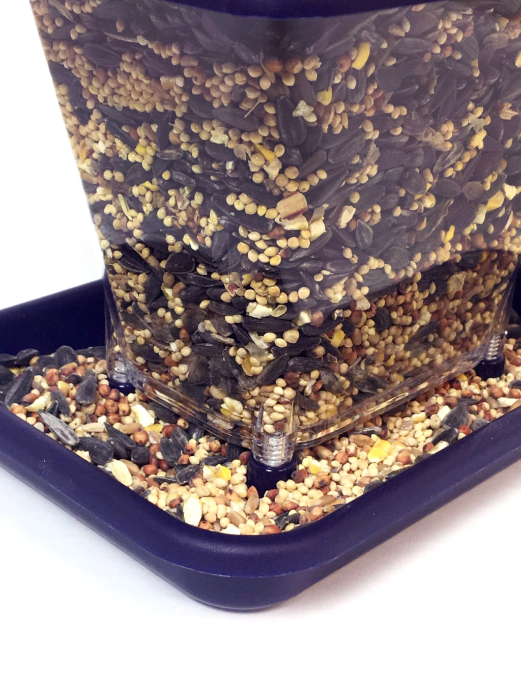 close-up of Stokes Select ranch feeder base filled with bird seed