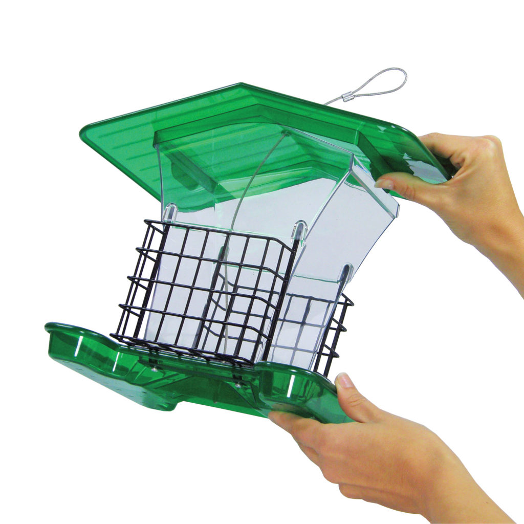opening Stokes Select large plastic hopper feeder with suet cages