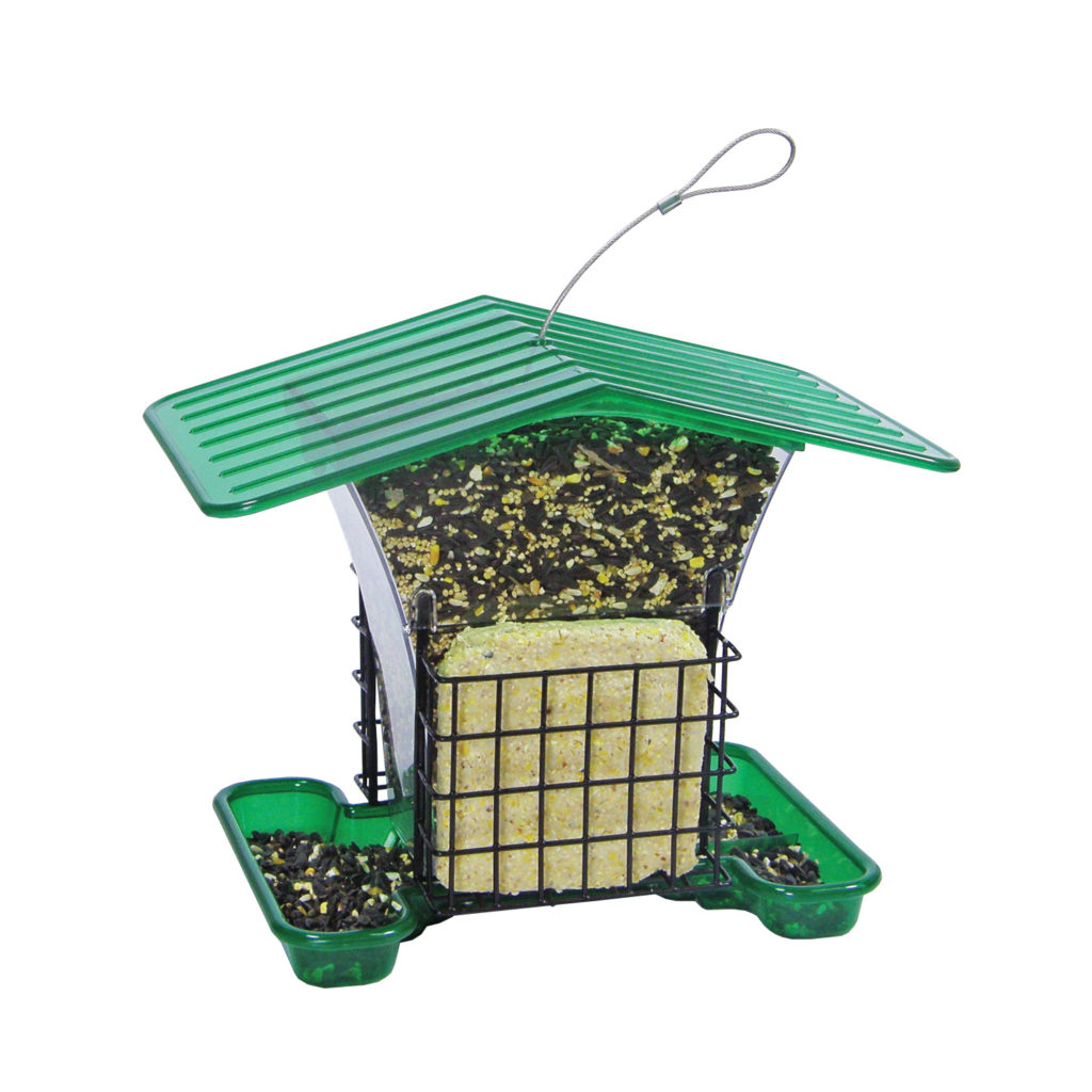 Stokes Select large plastic hopper feeder filled with suet and bird seed