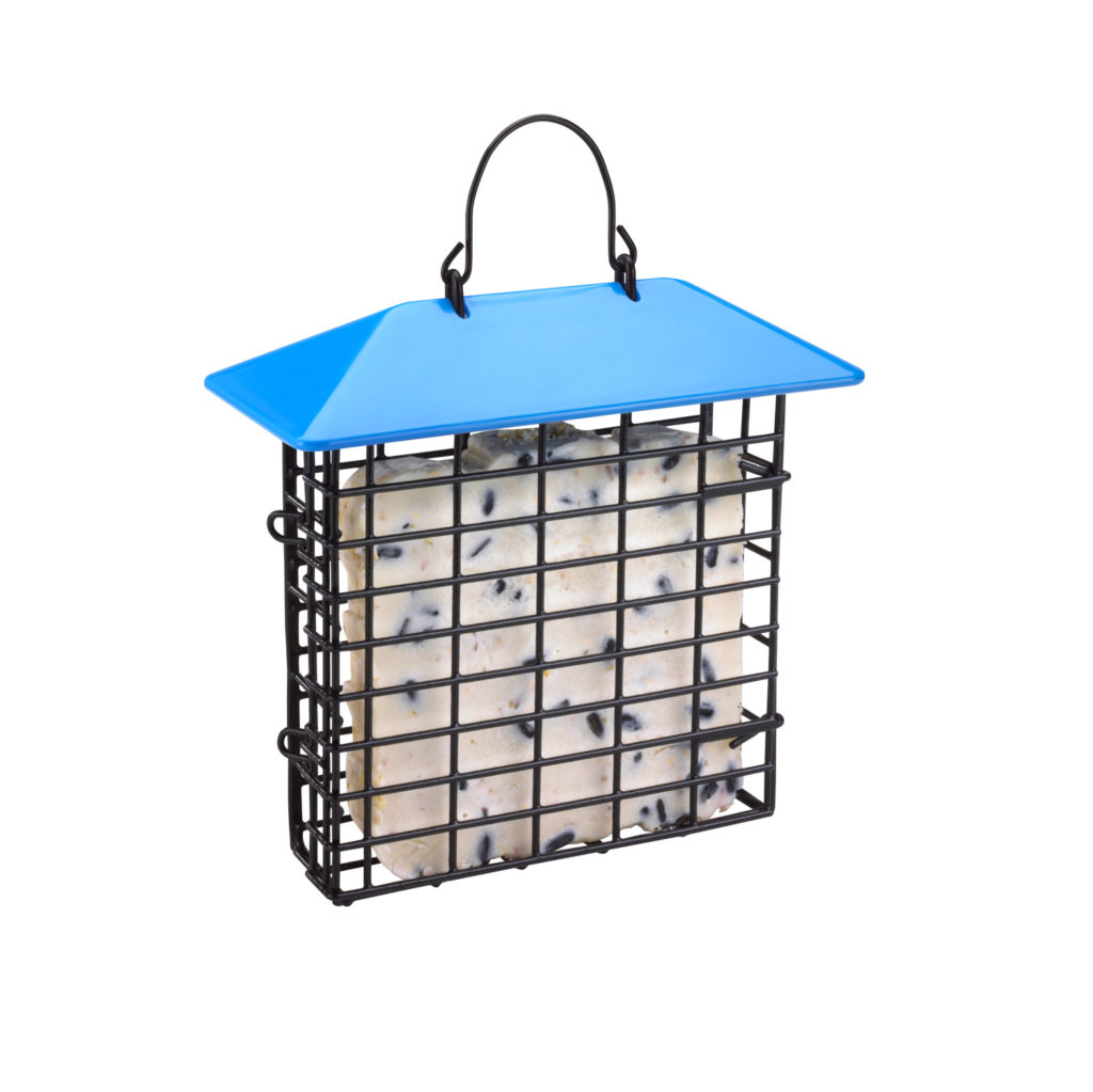 blue Stokes Select single suet feeder filled with suet