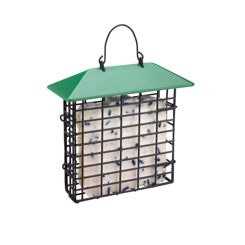 green Stokes Select single suet feeder filled with suet