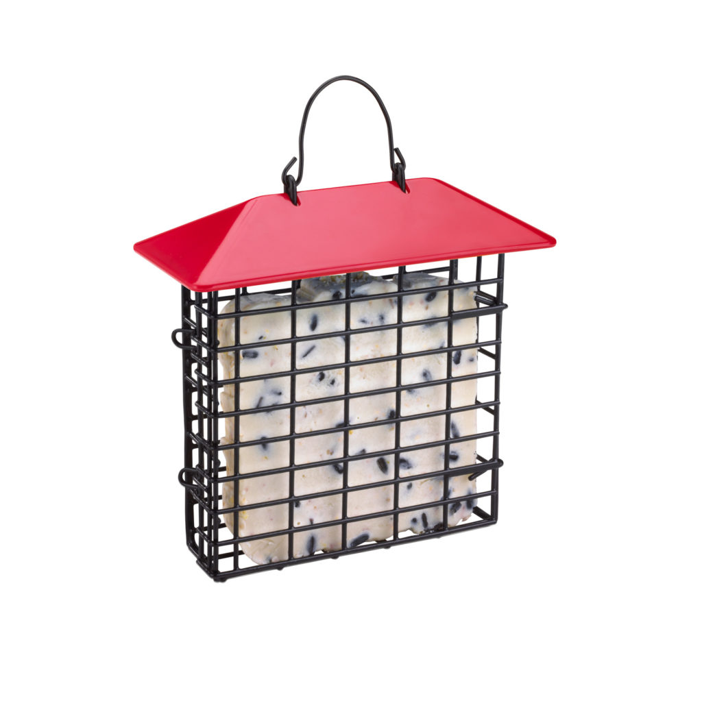 red Stokes Select single suet feeder filled with suet
