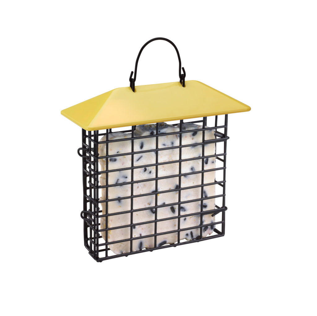 yellow Stokes Select single suet feeder filled with suet