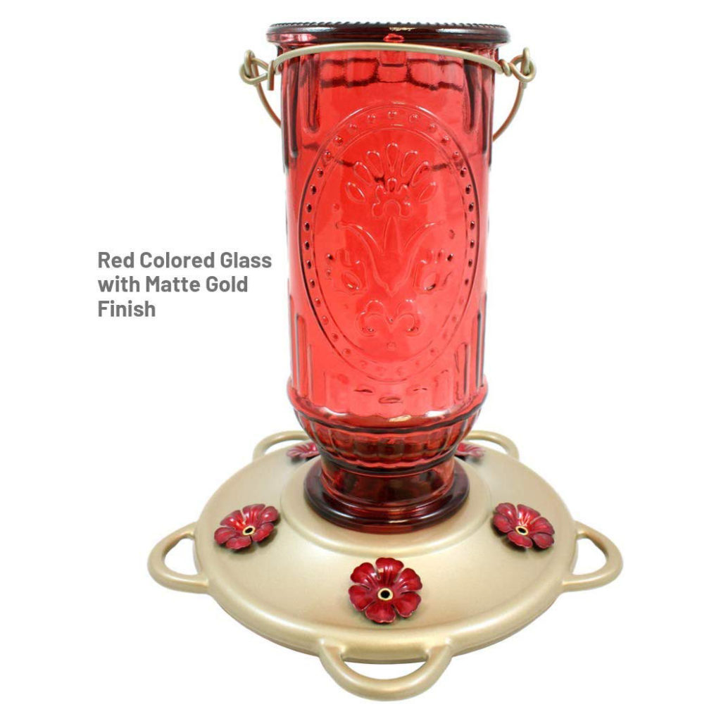 More Birds Vintage Hummingbird Feeder with red colored glass and matte gold finish