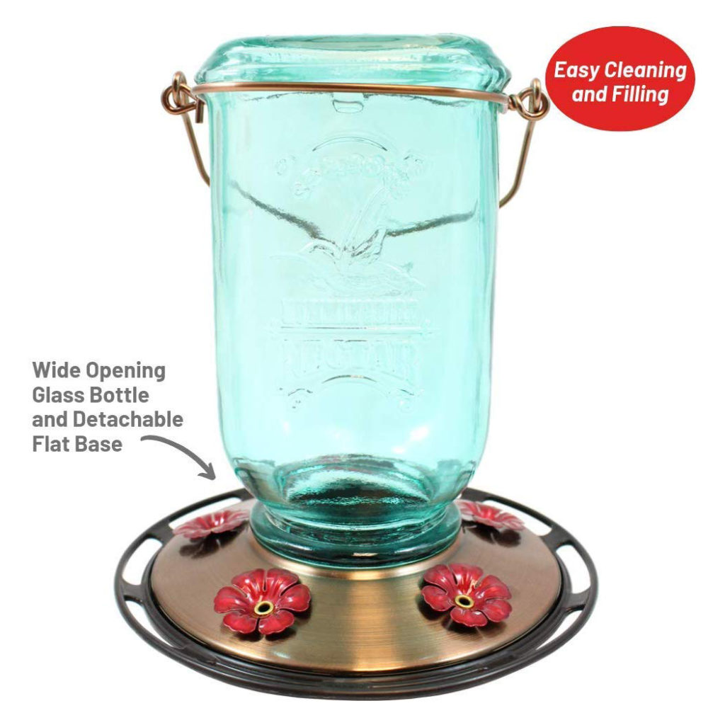 More Birds Mason Jar Hummingbird Feeder is easy to clean and fill with the wide opening glass bottle and detachable flat base