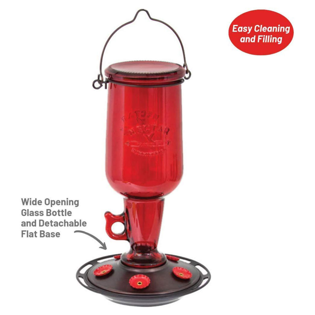 More Birds Jug Hummingbird Feeder is easy to clean and fill with the wide opening glass bottle and detachable flat base