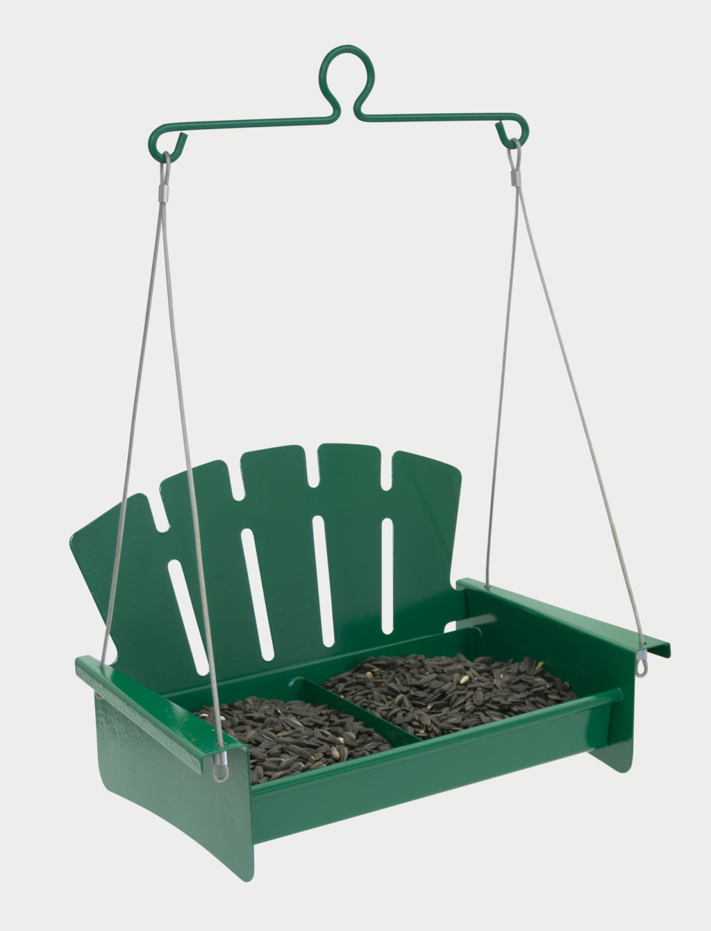 Green Snacks 'n' Treats Platform Swing filled with sunflower seeds