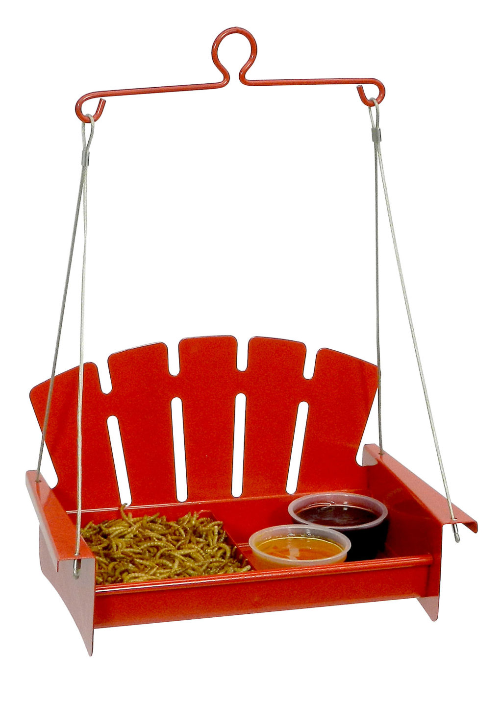 Red Snacks 'n' Treats Platform Swing filled with mealworms and jelly