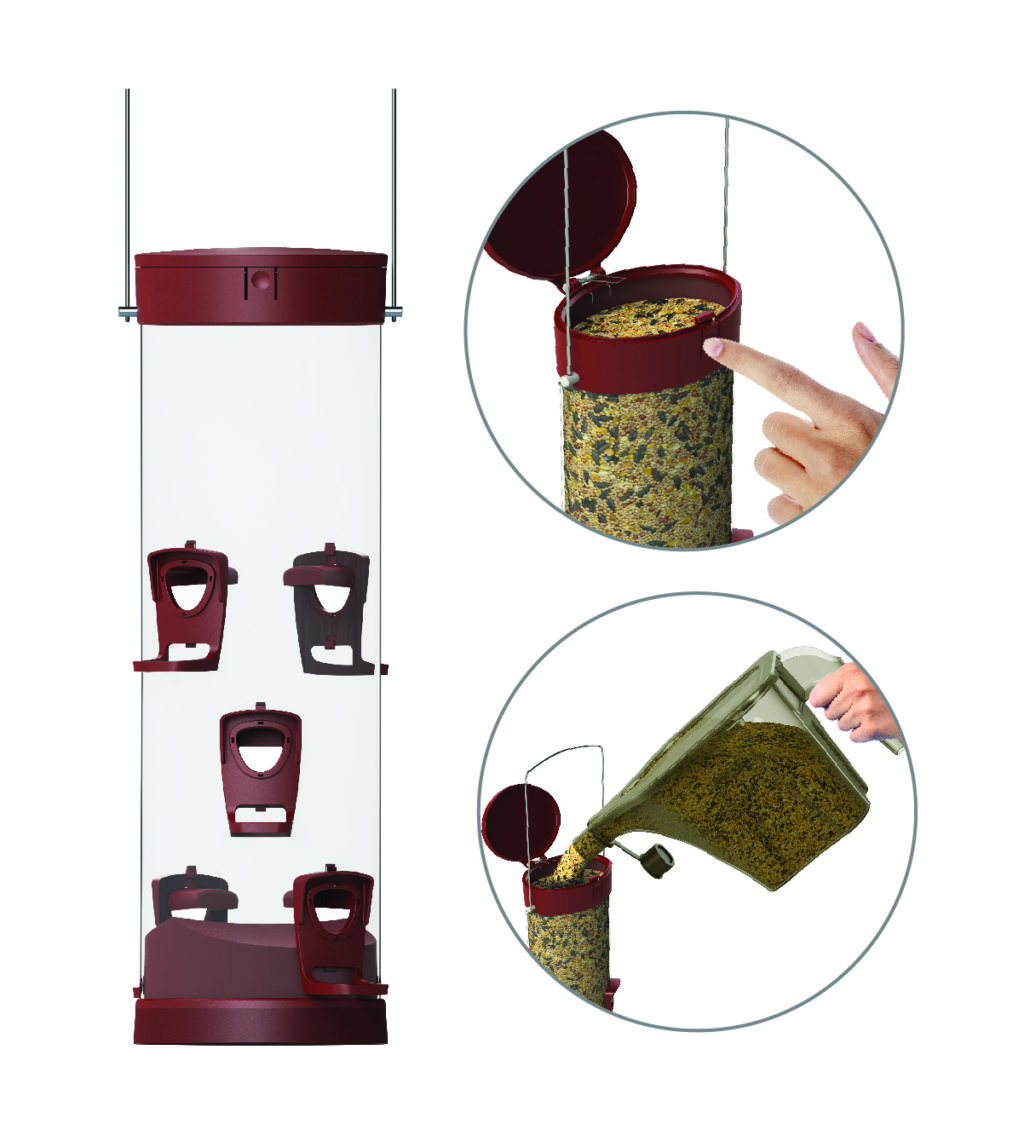 opening and filling Stokes Select large easy fill plastic tube feeder