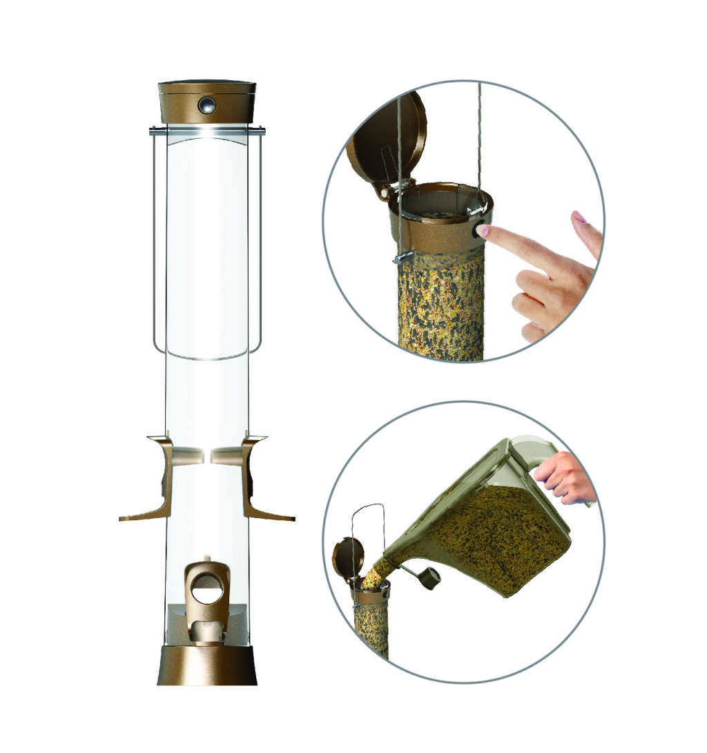 Stokes Select easy fill metal mixed seed tube feeder close-up